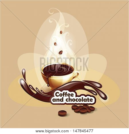 Cup of hot chocolate. Background with a coffee cup. Vector illustration.