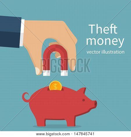 Theft money concept. Idea of stealing cash. A man holding a magnet in hand attracting coins from piggy bank. Vector illustration flat design. Stealing money. Burglar.