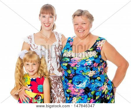 Closeup of a happy grandmother with her daughter and beloved granddaughter-Isolated on white background