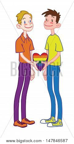 Gay happy family with rainbow heart cartoon vector illustration. Gay couple, isolated vector on a white background.