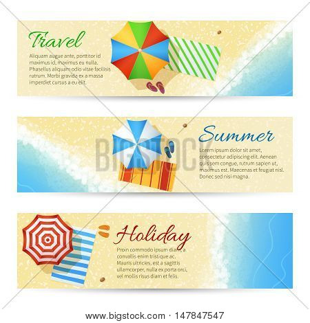 Summer travel vector banners with sea beach. Umbrella with flip flops on sand illustration