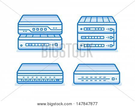 Network devices icon set. Internet service provider equipment. Data network hardware series vector illustration