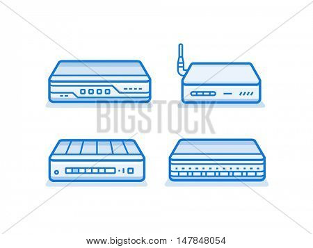 Soho network router icon set. Network equipment for small business. Data network hardware series vector illustration