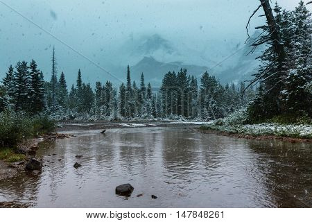 Scenic snow-covered peaks in winter in the Glacier National Park, Montana. USA