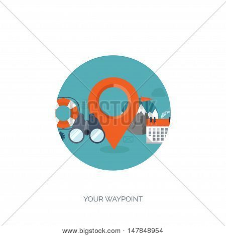 Location. Flat travel background. Summer holidays, vacation. Plane, boat, car traveling. Tourism, trip, journey.