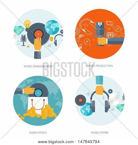 Vector illustration. Flat background. Music.production. Show business. Mp3, compact disk. Voice recording. Singind, karaoke. Audio store.