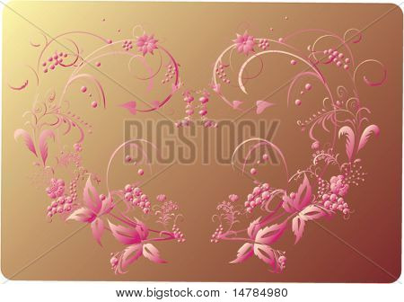 illustration with flowers decoration isolated on yellow background