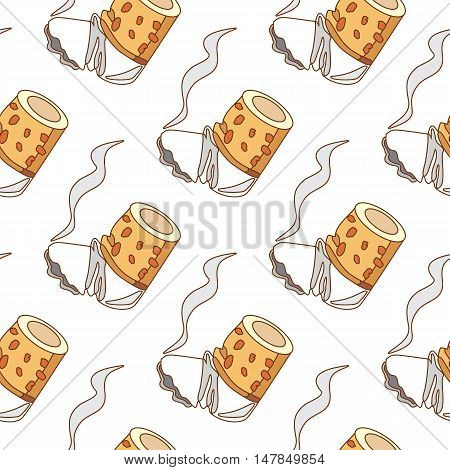 Seamless pattern for design surface of cigarette butt on a white background.