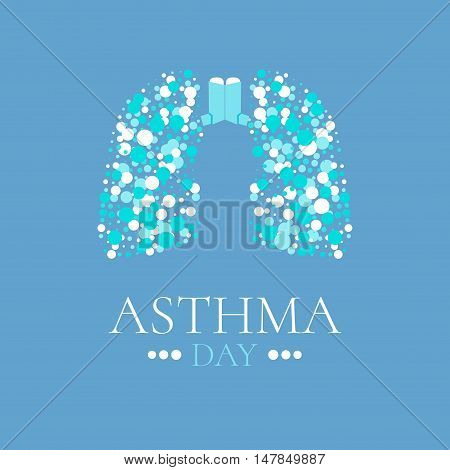 World Asthma Day poster. Vector illustration of inhalers and lungs filled with air bubbles. Bronchial asthma awareness sign. National asthma day. Asthma solidarity day. Lungs logo.