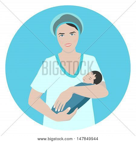 Vector illustration of a smiling doctor holding a newborn sleeping baby. Midwife. Obstetrician. Nurse taking care of a baby. Medical concept.