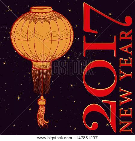 Chinese New Year greeting card. Chinese red lantern on a black nightsky background with golden stars. Intricate linear hand drawing.