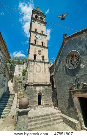Tower of St. Nicholas Church in Perast town, Montenegro.