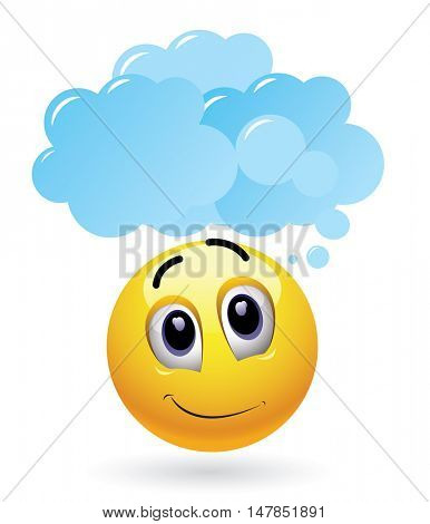 Smiley and imagination. High quality vector illustration of thoughtful smiley with cloud above his head.