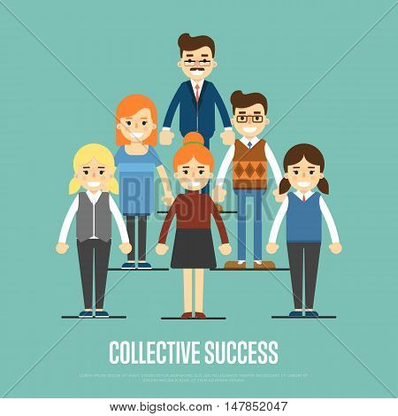 Group of smiling and young cartoon business people stand on blue background. Collective success vector illustration. Teamwork concept. Collaboration and partnership, working together. Business team