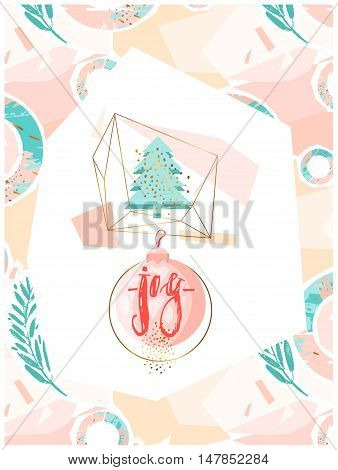 Hand drawn vector abstract artistic creative christmas background with handwritten modern lettering phase joy on christmas ball and christmas tree in gold terrarium in pastel, blue, pink and gold colors.