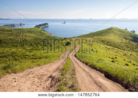 Way downhill to the sea. The Sea of Japan