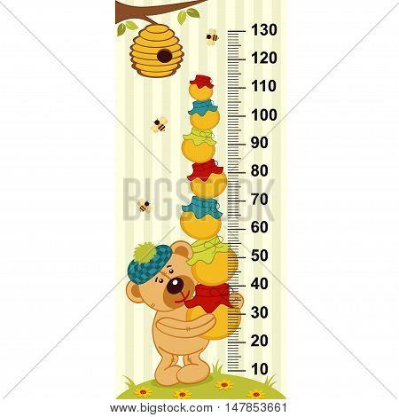 teddy bear holding pots of honey - vector illustration, eps