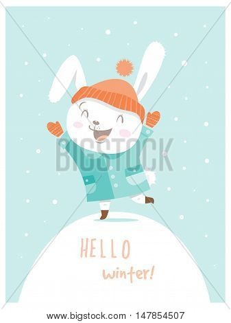 Card with cute cartoon hare in coat and hat. Winter time. Snow day. Little rabbit in clothes. Funny bunny. Vector image. Children's illustration.