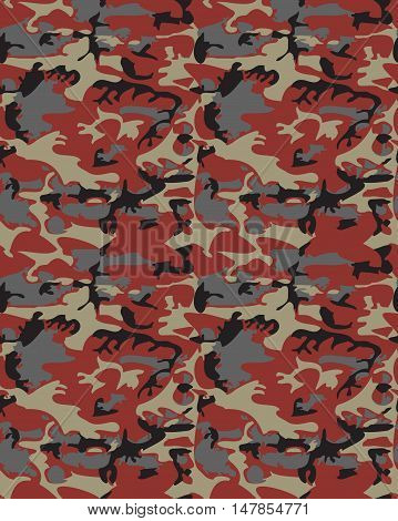 Camouflage pattern background seamless vector illustration. Classic clothing style masking camo repeat print. Red black gray colors forest texture