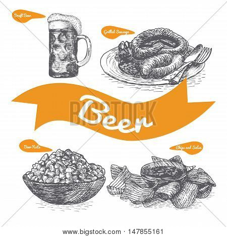 Draft beer and snack products illustration. Vector colorful illustration of beer and snack product