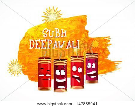 Glossy firecrackers with funny faces for Indian Festival of Lights, Shubh Deepawali (Happy Deepawali) celebration.
