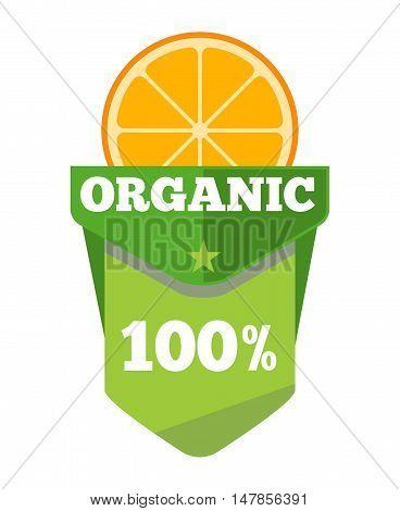 Organic natural fruit juice label template with orange. Vector illustration