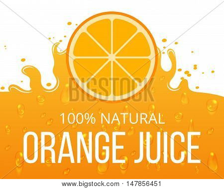 Natural orange juice label template. Juicy natural citrus, vector illustration