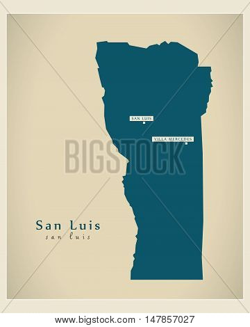 Modern Map - San Luis AR vector