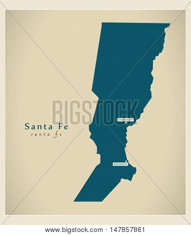 Modern Map - Santa Fe AR vector hgh res