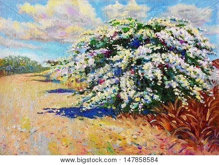 Painting oil color landscape original colorful of paper flower tree and emotion in blue with cloud in the sky background