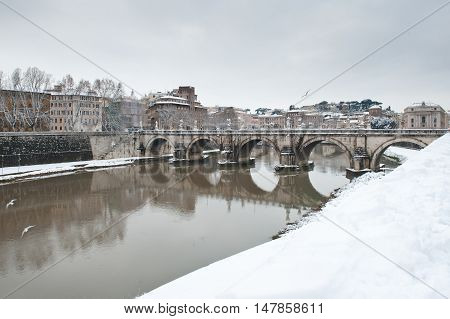 St Angelo Bridge Winter View Rome