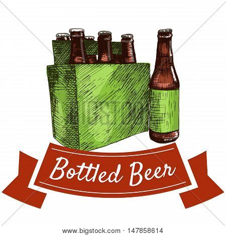 Bottled beer illustration. Vector colorful illustration of bottled beer.