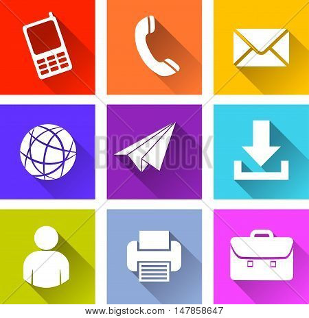 Illustration of web various icons on white background