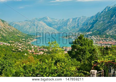 Bay of Kotor. The town of Kotor, Muo, Prcanj, Tivat. View of the mountains, sea, clouds.