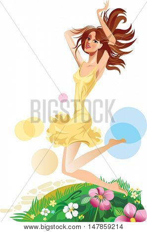 jumping beautiful girl, face girl, cheerful female with long hair