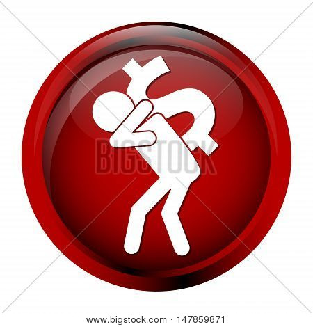 Man carrying with a money icon dollar sign button vector illustration