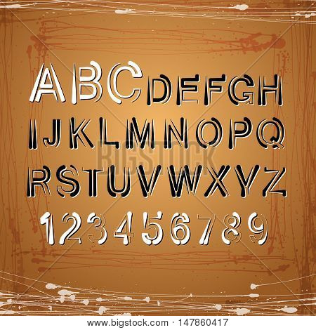 Vector  alphabet. Letters and numbers on golden background.