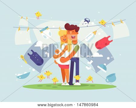 Happy couple expecting a baby. Adding to young family. Vector illustration