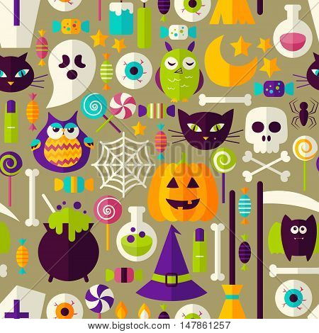 Halloween Seamless Background. Vector Illustration of Scary Holiday Flat Style Tile Pattern. Trick or Treat.