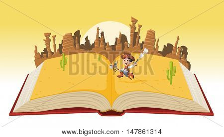 Open book with cartoon cowboy kid galloping on Wild west