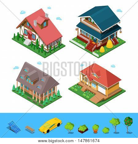 Isometric Rural Cottage Building House Set. Flat 3d Private Architecture. Vector illustration