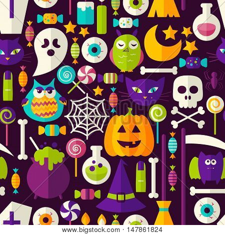 Scary Halloween Seamless Background. Vector Illustration of Holiday Flat Style Tile Pattern. Trick or Treat.