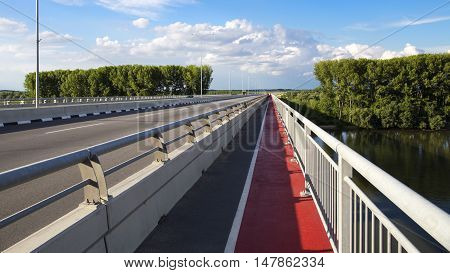 Walkway and bicycle track on new bridge over Danube river in Zemun, Belgrade, Serbia