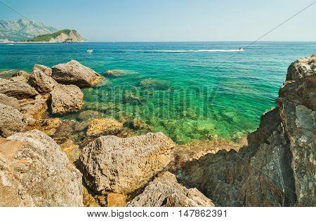 The sea and the coastline, Budva, Montenegro, Adriatic Sea, Mediterranean Sea.