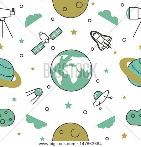 Space Research Line Art Thin Vector Seamless Pattern Background with Shuttle and Planets