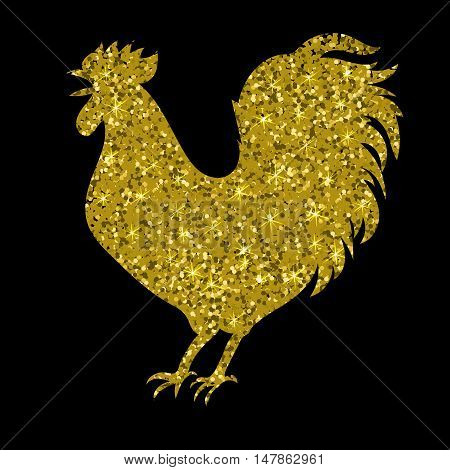 gold rooster with glitter, silhouette, isolated vector illustration