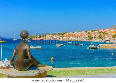 View at summertime in marble town Bol, Island of Brac, Croatia Europe touristic destination.