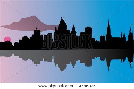 illustration with dusk city with reflection silhouette