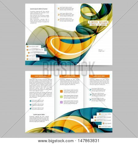 Color tri fold  brochure with abstract lines and waves