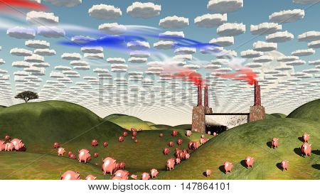 Surreal landscape with factory and pigs moving toward factory 3D Render